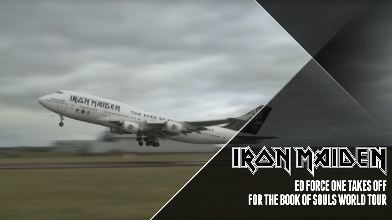 iron maiden's ed force one departs cardiff - youtube