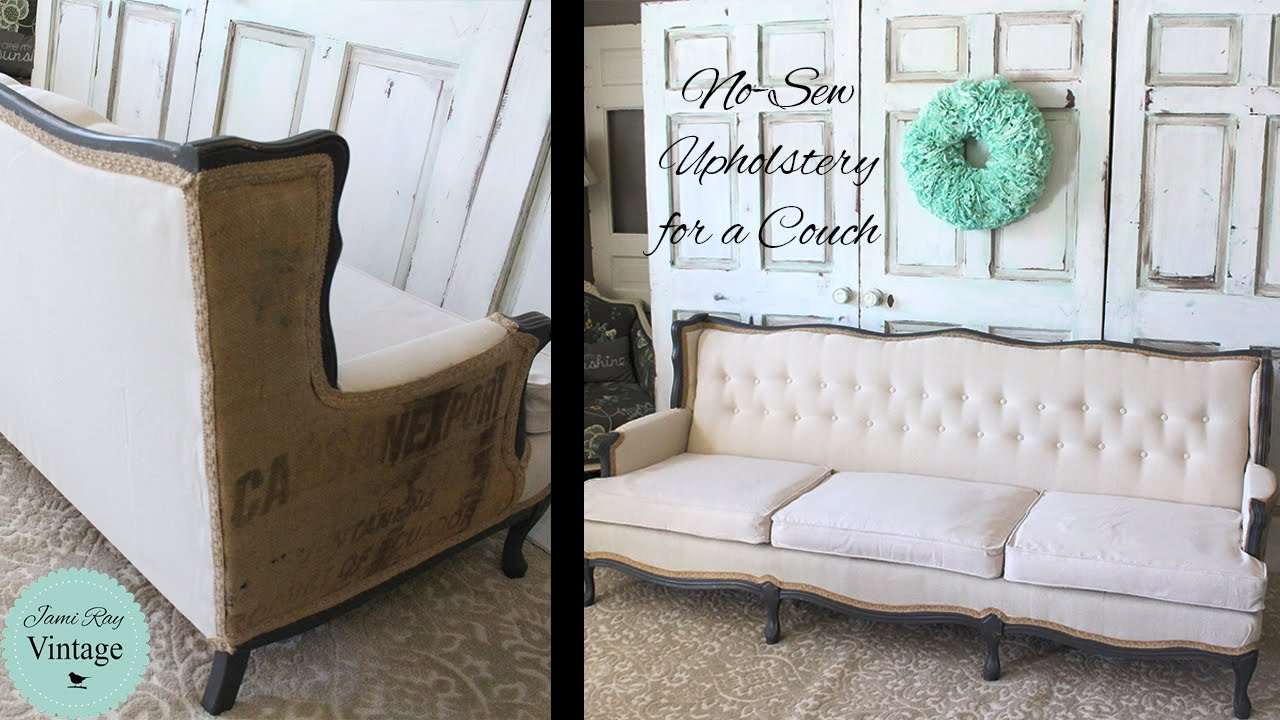 how to recover a sofa without sewing brown color schemes upholster couch youtube