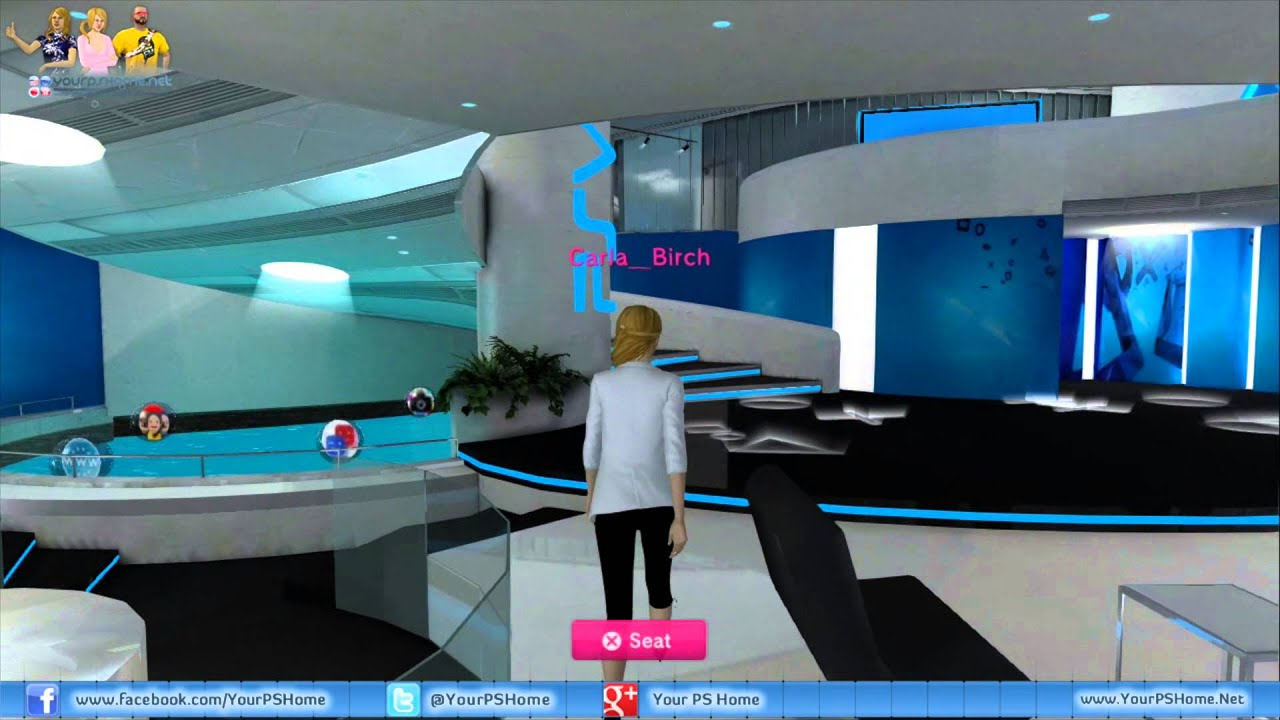 Playstation Home Public Space Tour Playstation Vita Lounge Youtube