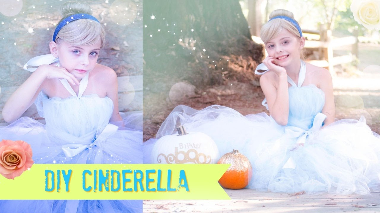 Diy cinderella no sew tutu dress costume youtube solutioingenieria Images