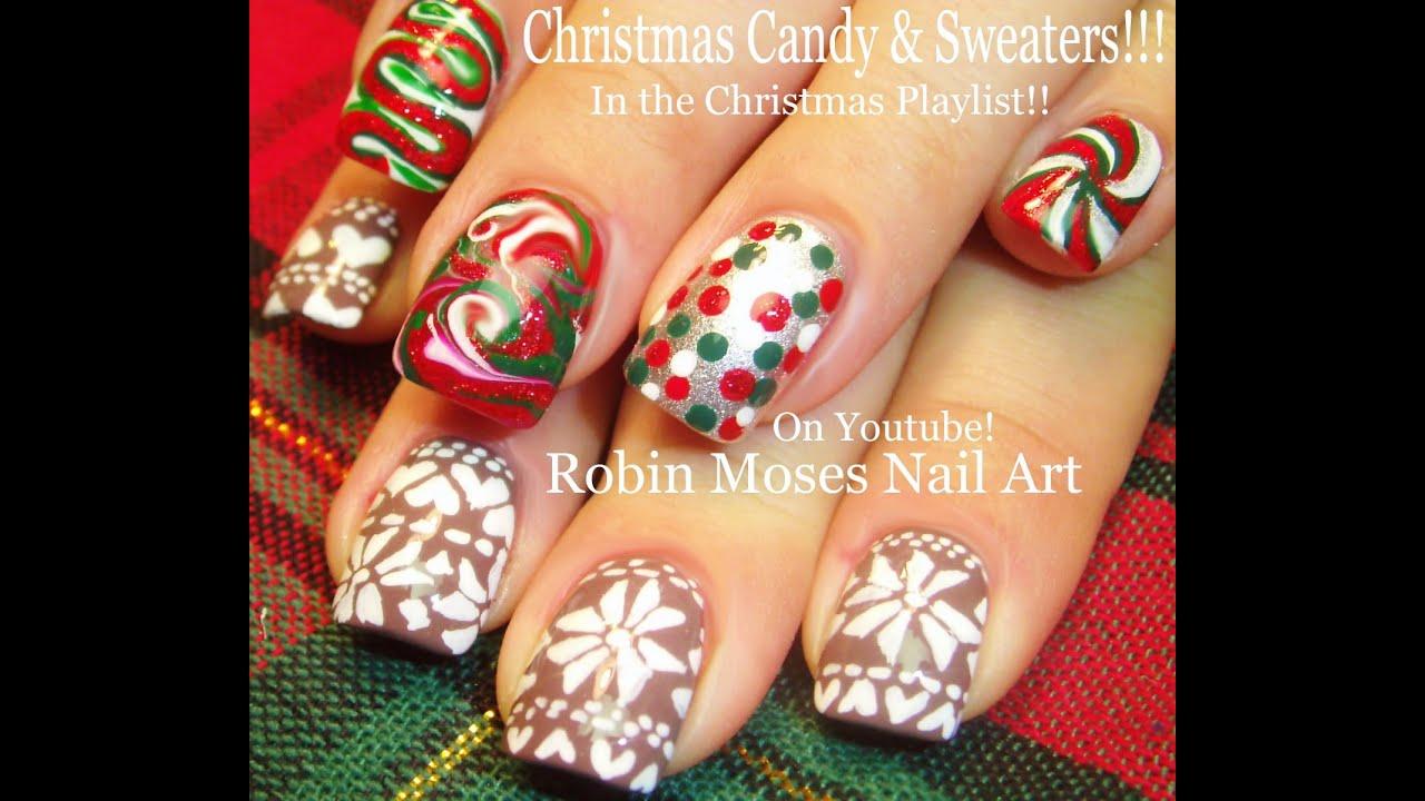 Christmas Finger Nail Art: DIY Christmas Sweater Nail Art