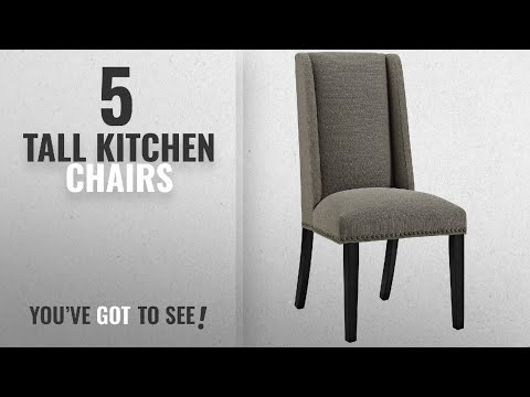 Top 10 Tall Kitchen Chairs [2018]: Modway Baron Upholstered Fabric Modern Tall Back Dining Parsons