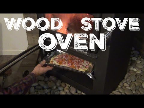 Cooking Homemade Pizza in The Wood Stove Oven