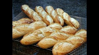 HOMEMADE NO KNEAD FRENCH BAGUETTES RECIPE TUTORIAL 1/2 自己在家做免揉法國棍子麵包示範教學