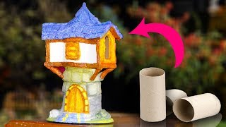 Diy Fairy House (Defense Tower) making with home made paper clay and tissue paper roll