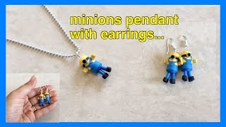 Quilling mini minions pendant with earrings / minions earrings | Priti Sharma