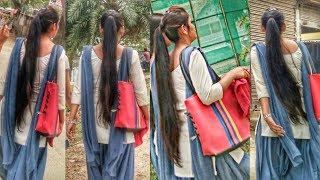 Beautiful long hair girl student