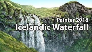 Icelandic Waterfall - Corel Painter 2018 Landscape Painting Course (TRAILER)