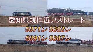 2020/02/22 JR貨物 愛知県境に近いストレート勾配を力走する貨物列車4本