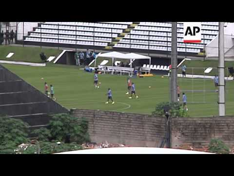 Uruguay team training as Suarez hit with ban for biting