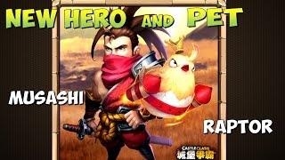 Битва Замков, New Hero Ronin(Musashi), New pet Raptor, Новый герой и питомец, Castle Clash