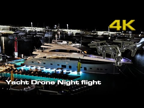 Yacht Drone (Night Flight)  [4K]