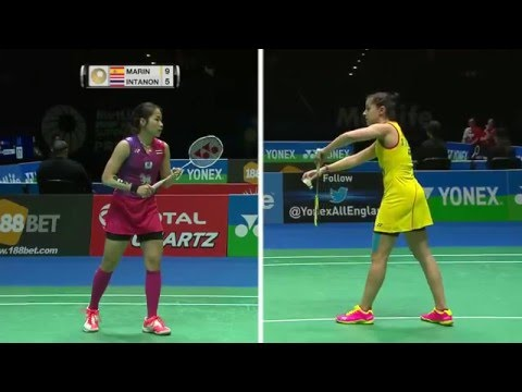 Yonex All England Open 2016 | Badminton QF M4-WS | Carolina Marin vs Ratchanok Intanon
