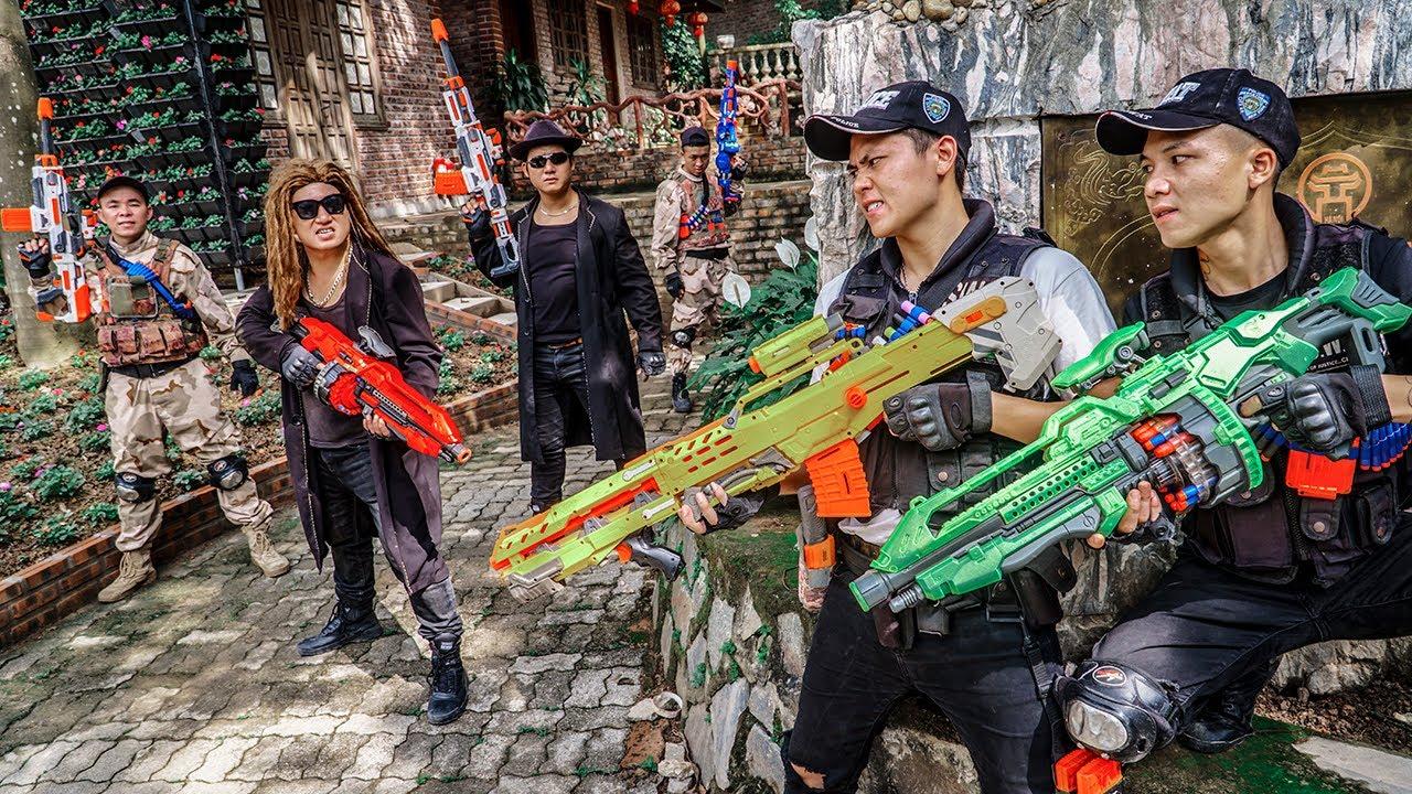 LTT Game Nerf War : Patrol Police Warriors SEAL X Nerf Guns Fight Rocket Crazy Dangerous Criminals