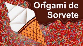 Como fazer Origami de Sorvete.