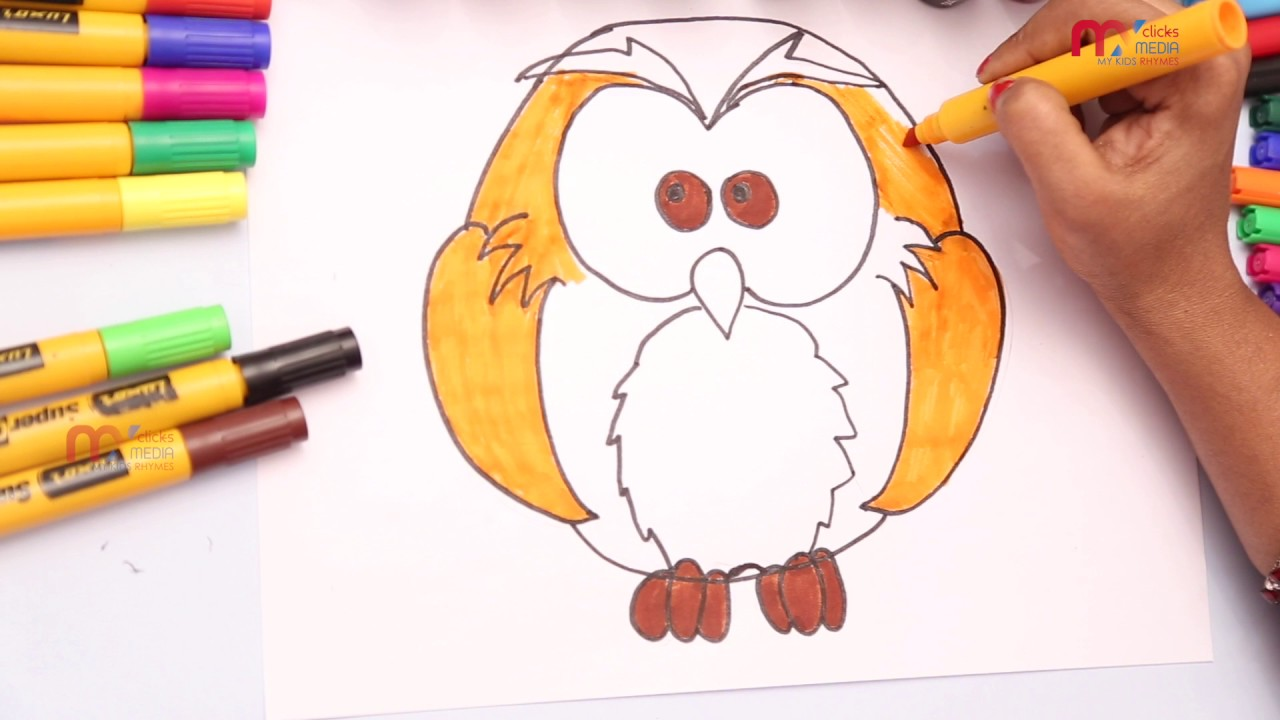 owl drawing for kids how to draw and color owl for childrens my kids rhymes