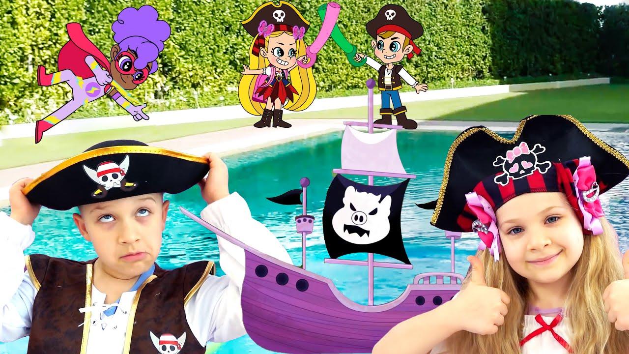 Diana Dan Roma DIY Balap Perahu! Diselamatkan Dari Bajak Laut Oleh Teman Baru! Kartun anak-anak