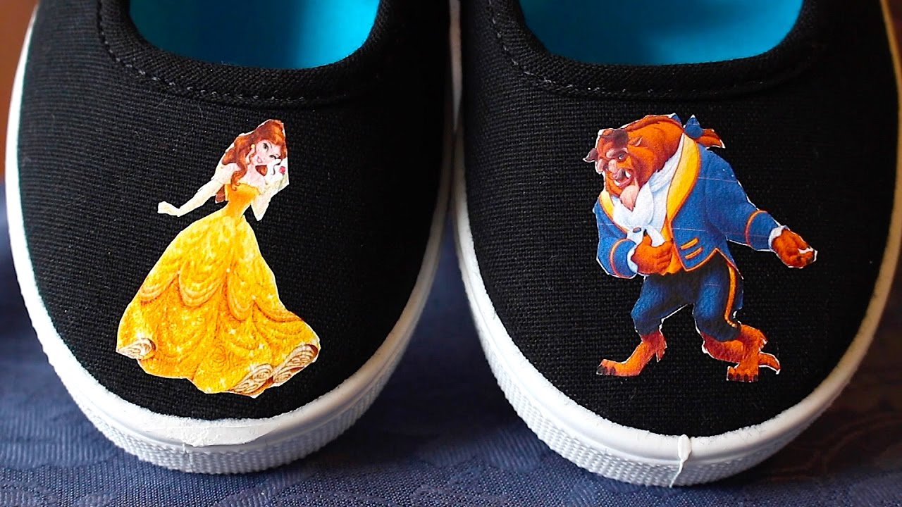 b7418acdf132 How To Make Iron On Transfer Shoes! Beauty And The Beast! Disney Princess!