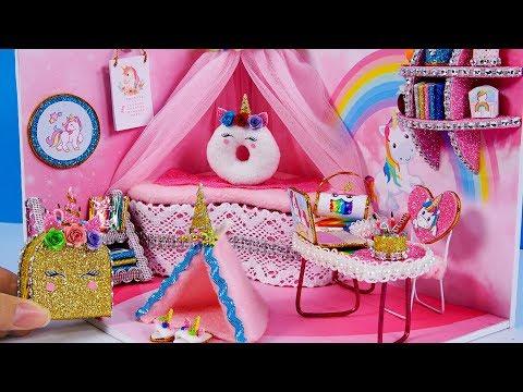 DIY Miniatures Dollhouse Room ~ Unicorn Room Decor , Backpack  #32