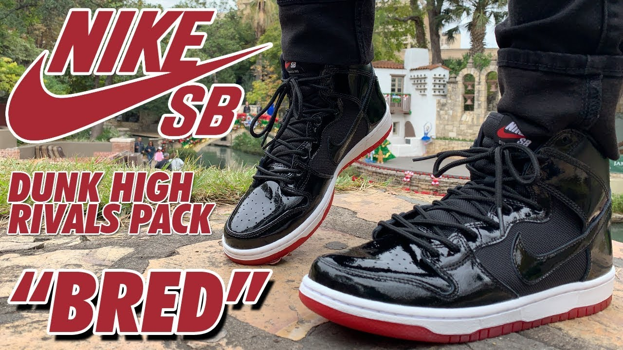 BRED x NIKE SB DUNK HIGH RIVALS PACK REVIEW! - YouTube 4b580e94c