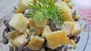 Рецепты салатов  Салат с кукурузой и сухариками