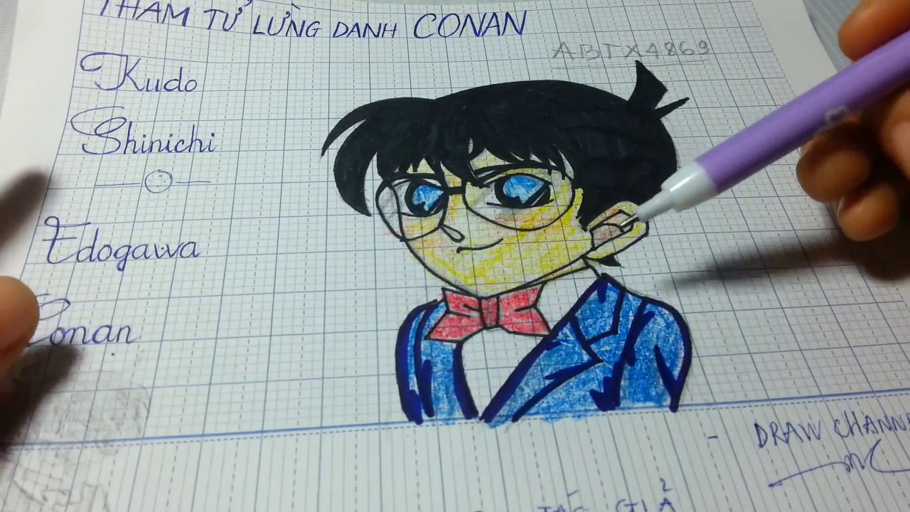 Vẽ Conan từng bước chi tiết/How to draw belective conan/draw channel