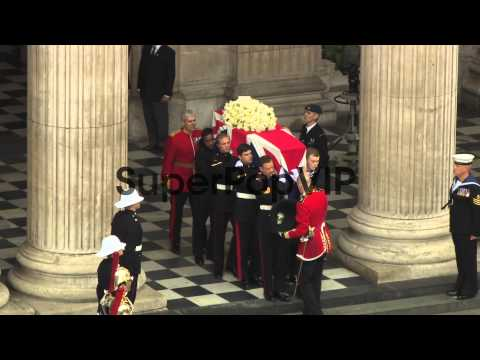 Coffin leaves St Pauls Cathedral at Baroness Thatcher Fun...