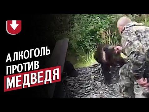 Пьяный рыбак полез к медведю в России