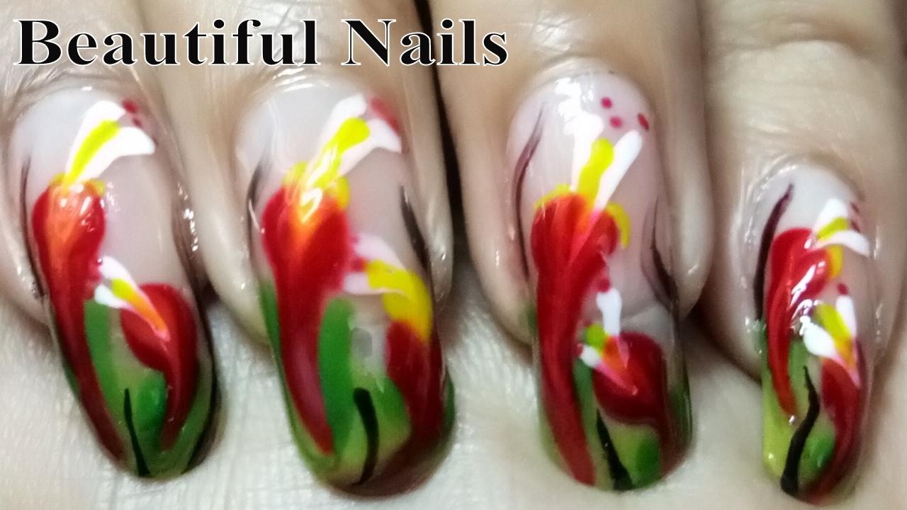 beautiful nails art designs at home - colourful flower nail polish
