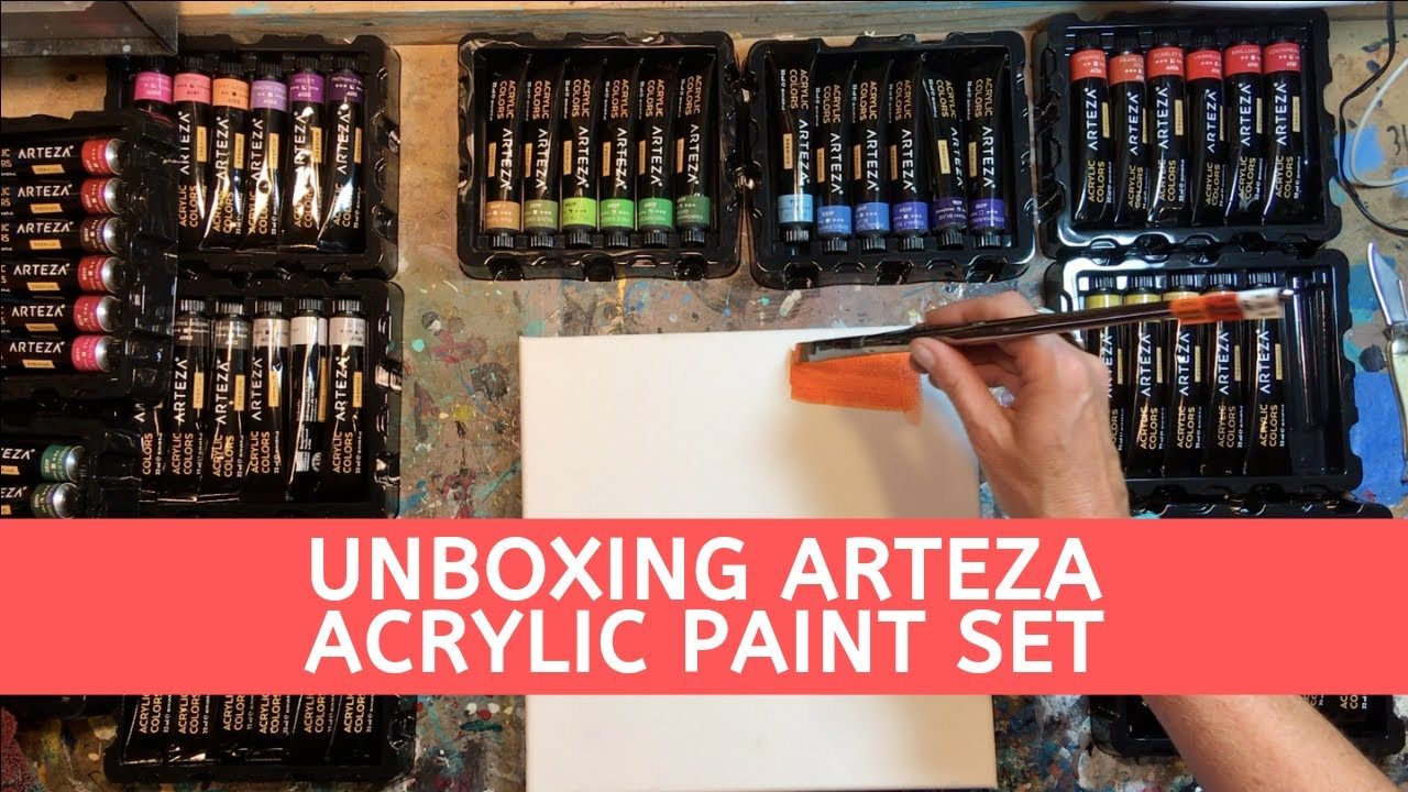 Arteza Acrylic Paint Unboxing Review Set Of 60 Paints Youtube