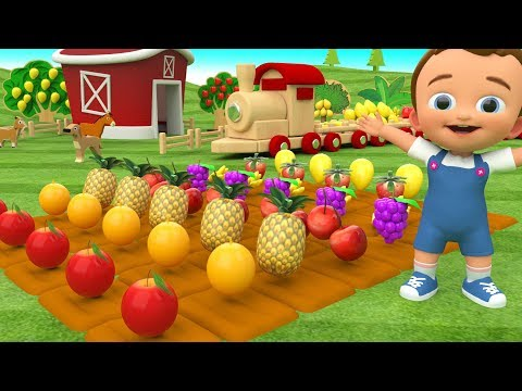 Little Baby Learning Fruits Names for Children with Wooden Train Transport 3D Kids Toddler Education
