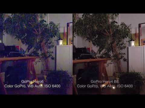 GoPro Hero6 vs Gopro Hero4 BE Low Light. Very strong color noise.