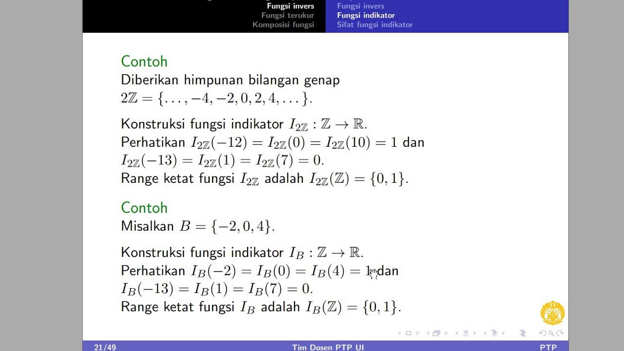 ¿ ¾ ½ ¯ ® , a, b i , b z 0 b Pengantar Teori Probabilitas Fungsi Indikator 7 13 Youtube