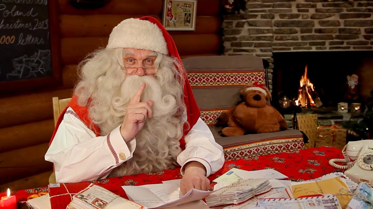 santa claus video message to children from lapland finland