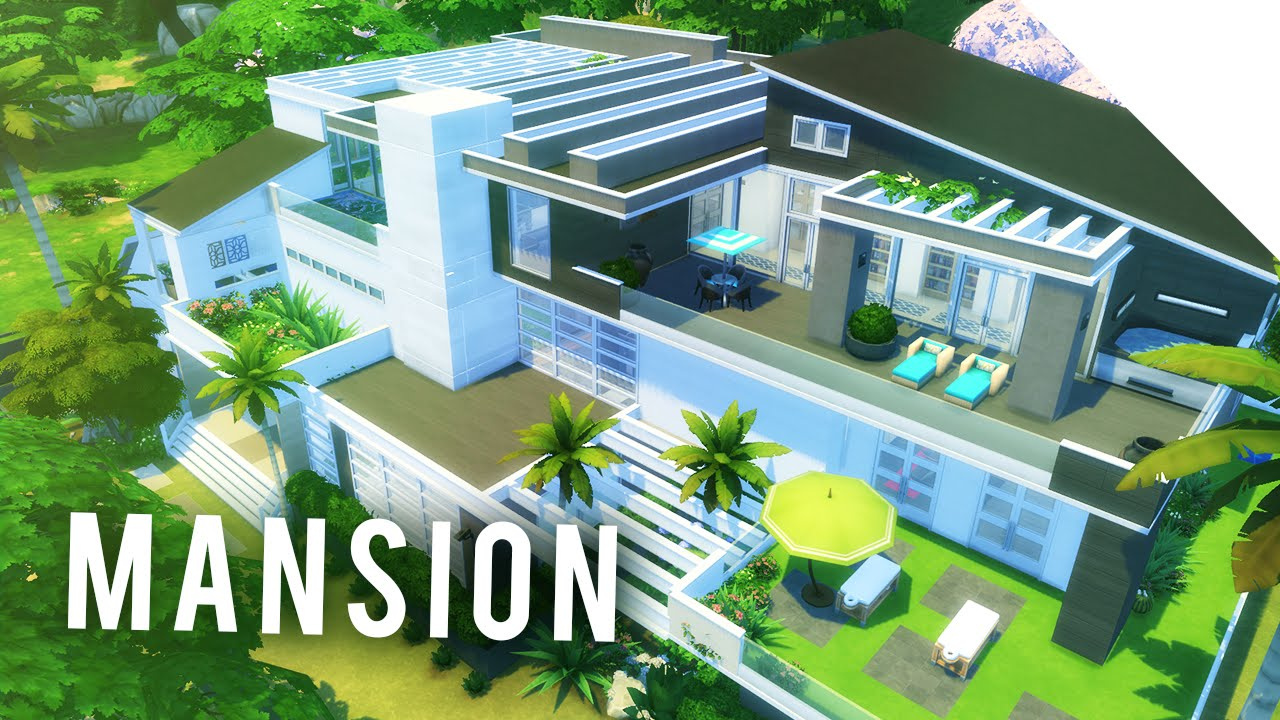 The sims 4 speedbuild mega modern mansion 01 youtube