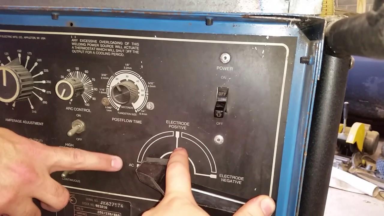 Miller Sncrowave 250 tig welder settings explanation