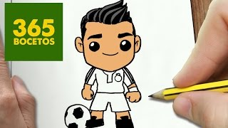 COMO DIBUJAR CRISTIANO RONALDO KAWAII PASO A PASO - Dibujos kawaii faciles - How to draw a CR7