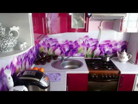 Кухня фиолетовая с фотопечатью
