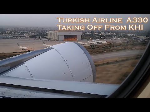 Turkish Airline A330 Takes-Off from Karachi Airport - Runway 25L for Istanbul.