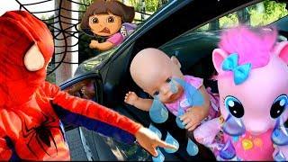 Девочки супер герои в масках 2 серия Человек паук и Даша Путешественница спасают Беби Бон Пинки Пай
