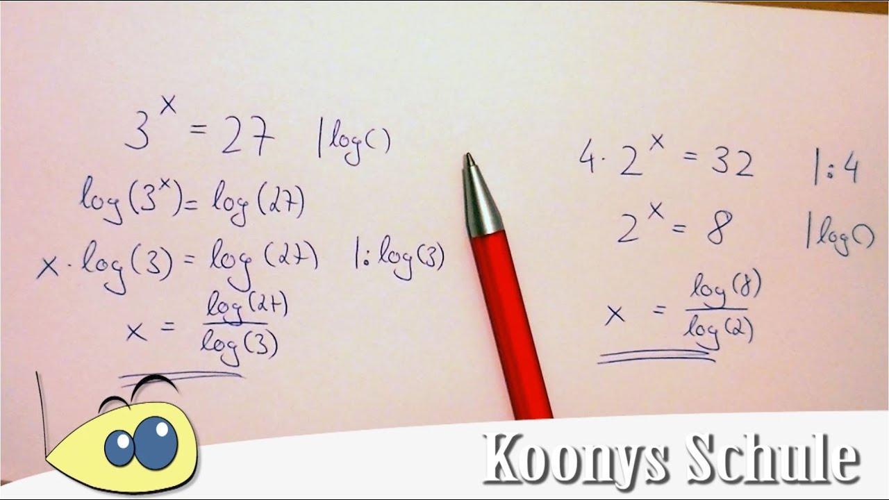 Wie hole ich x nach unten? | Logarithmus, einfache Gleichungen lösen ...