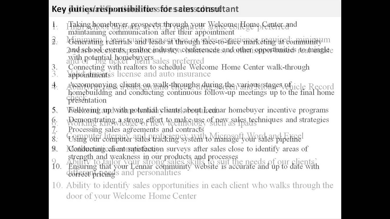 Sales Consultant Job Description   YouTube