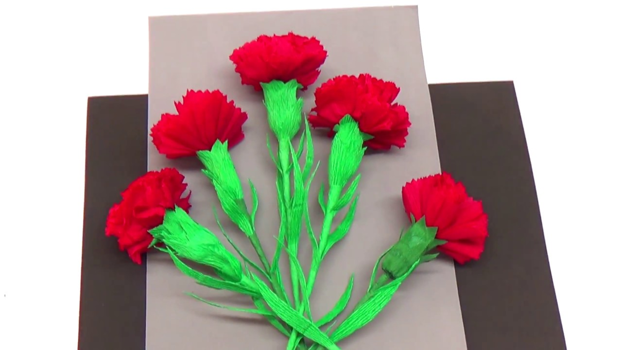 Easy Paper Flowers Making How To Make Carnation Flower Crepe Paper