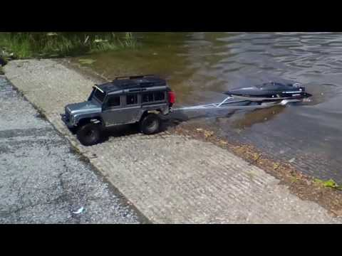 The TRX-4 Defender And FT011 Speed Boat With Custom RC Boat Trailer On A Cool Day