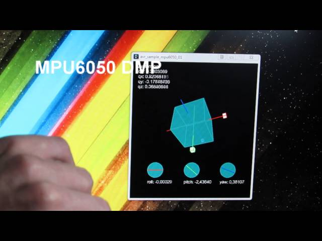 AVR Atmega MPU6050 gyroscope and accelerometer attitude estimation +  processing