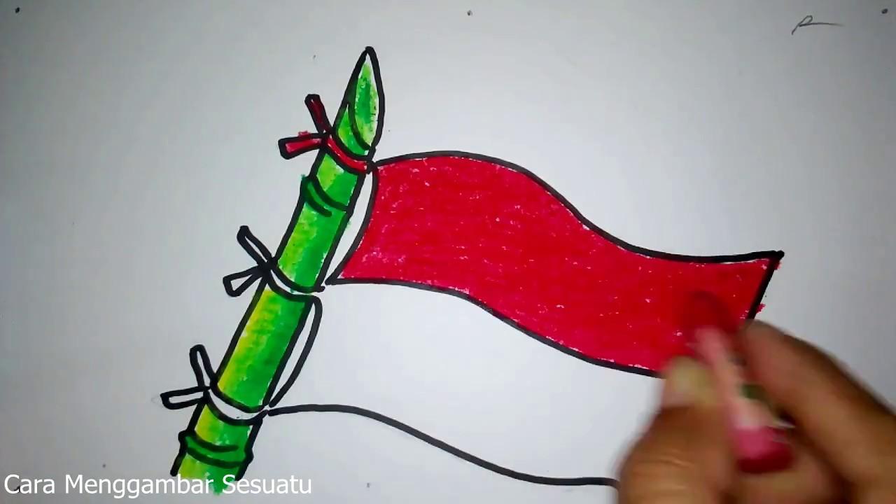 Cara Menggambar Bendera Merah Putih Dan Bambu Runcing