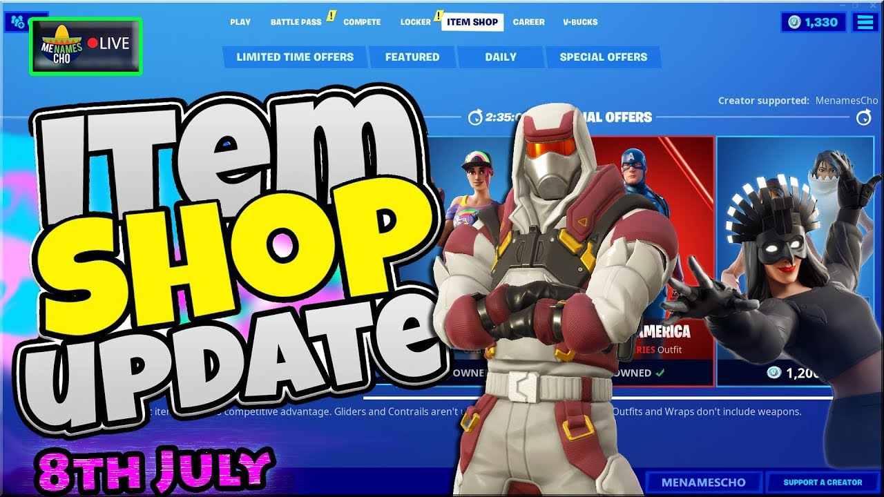 💥Fortnite Item Shop Update 🔵 Countdown ⚡ LIVE - 8th July 2020 (Fortnite Battle Royale)