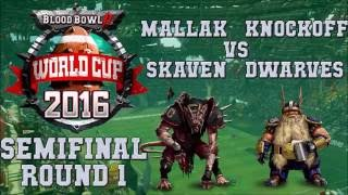 Blood Bowl 2 World Cup semifinal R1! Skaven(Mallak) vs Dwarves(Knockoff). Cast by cKnoor & Lewpac