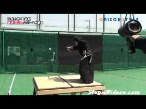 Tim Moore - Samurai Slices 100 mph Baseball In Half With Sword!