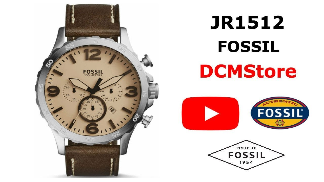 5784a21cf JR1512 Fossil Nate Chronograph Brown Leather ..... DCMStore - YouTube